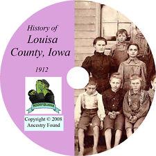 1912 LOUISA County Iowa IA, History & Genealogy -  Wapello Ancestry  - CD DVD