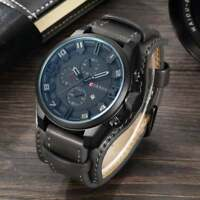 Montre Militaire Sport Homme Curren Quartz Date Large Bracelet Cuir PROMO