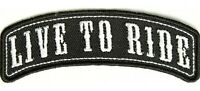 LIVE TO RIDE ROCKER SEW OR IRONON EMBROIDERED CLOTH BIKER PATCH