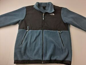 FLAW The North Face Denali Boys XL 18/20 Jacket Dark Sage Green Blue Full Zip D3