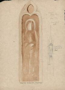 ST. DAVIDS CATHEDRAL WALL PAINTING STUDY Painting H CLARENCE WHAITE c1930