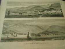 Gravure 1881 - Tremblement de Terre de L'ile de Chio la ville de Kastro et Chio