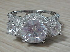 """Bella Luce Rhodium Split Band """"Crown"""" Ring All White Rounds 9.08ctw  Sz.10"""