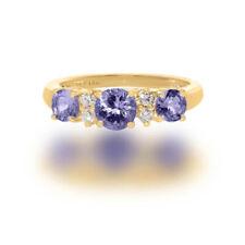 Tanzanite and Diamond Ring Three Stone Natural Engagement  Ring 14k White Gold