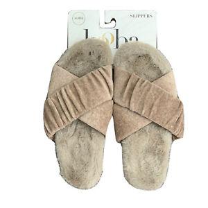 Brand New Kooba Memory Foam Slippers Faux Fur Women's XL 9.5 - 10.5 Light Brown