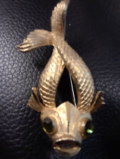 Vintage Koi Fish Brooch Pin by BSK company 1948-1980's Emerald Eyes Gold Tone