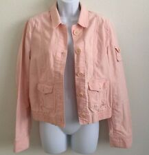 MARC JACOBS Pink Casual Jacket M Women Cotton Twill Elbow Patches Button Up