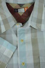 Quiksilver Uomo Muted Blu Marrone & Bianco Geometrico Camicia di Cotone Casual