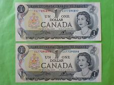 Canada 1 Dollar 1973 (PERFECT UNC) 2pcs Running Number ECF 7394897 - 8