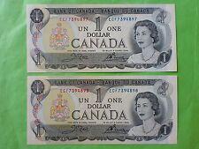 Canada 1 Dollar 1973 (PERFECT UNC) 2pcs Running Number ECF 7394897 - 8