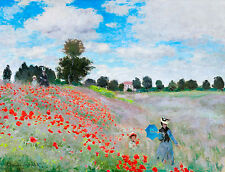 Monet 1873, Wild Poppies Near Argenteuil, Fade Resistant HD Art Print or Canvas
