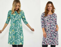 Weird Fish Floral Print Scoop Neck 3/4 Sleeves Cotton Jersey Tunic Dress Top