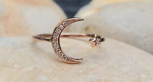 Rose Gold Ring, Crescent Moon Star Ring, Adjustable Ring, Celestial Ring, Open