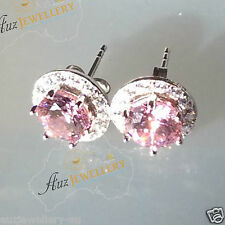 100% 925 Sterling Silver Created Pink Diamond Removable Halo Stud Earrings