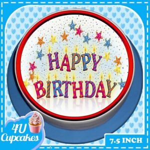 PRECUT HAPPY BIRTHDAY RED PARTY CANDLES 7.5 INCH ROUND EDIBLE CAKE TOPPER C7356