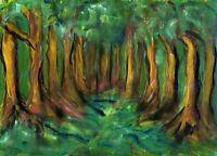 Lane Of Trees - Original Watercolor & Oil On Paper By F. DeTrolio