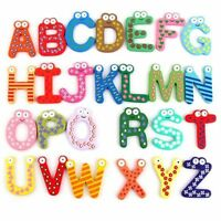 26PCS Wooden Cartoon Lettes A-Z Alphabet Fridge Magnets for Kids Baby Toy Game