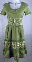 Women's Striking Dress Size 8 Green Polka Dot Short Sleeve Elastic Waist