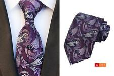 Purple and Silver Patterned Handmade 8cm 100% Silk Tie