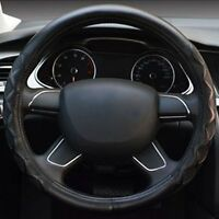Black Non-Slip Leather Car Truck Steering Wheel Cover 38cm With Needles & Thread