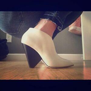 $379 Designer PAIGE Women's Pyramid Heel Leather Diesel Ankle Boots Bootie 35