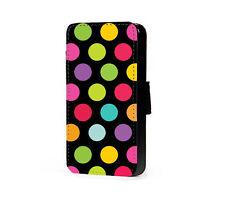 Polka dots phone case multi colour black faux leather flip case for iphone htc