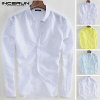 Men's Linen Collar Shirt Long Sleeve Beach Loose Casual Shirt V-Neck Tops Blouse