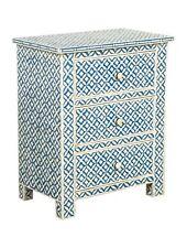 Handmade Bone Inlay Blue Geometric Bedside Table Nightstand