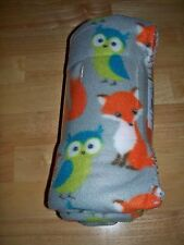 "BEACH THROW. MAINSTAY 50""X60"" FLEECE FOXES&OWLS BLANKET ""WHAT DOES THE FOX SAY?"""