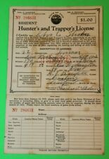 Antique Rare 1933 Resident Ohio Hunting and Trappers License  -  #7 - w/Postcard
