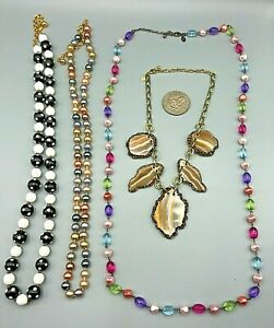 (4) Vintage JOAN RIVERS COLLECTION Glass Stone Faux Pearl Beaded Necklaces EXCEL