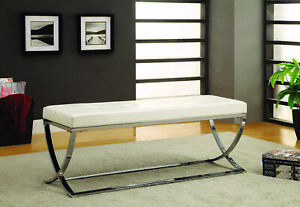 Coaster Faux Leather Contemporary Accent Bench in White