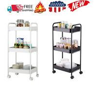 3 Tier Rolling Utility Cart Mobile Storage Organizer Trolley Shelf Kitchen US