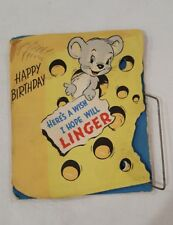 VINTAGE GREETING CARD HAPPY BIRTHDAY HERE'S A WISH I HOPE WILL LINGER MOUSE TRAP