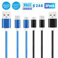 3Pcs Micro USB/Type-C Quick Fast Charger Charging Data Cable Cord for Cell Phone