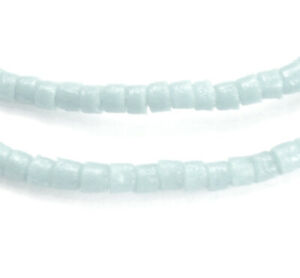 210 PALE BLUE RECYCLED GLASS HEISHI / DRUM / SEED BEADS FROM GHANA, 3 - 4 MM