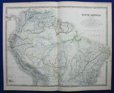Large antique map SOUTH AMERICA, BRAZIL, PERU, AMAZON, Johnston 1886