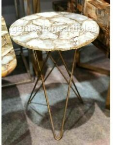 """18"""" Home Decoration Agate Side Kitchen Top Table Best Handmade Art Gift For Him"""
