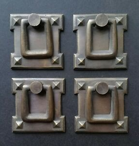 """4 Square Mission Stickley Ant. Style Solid Brass Handles Ring Pulls 2 1/8"""" #H38"""