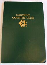 "Vintage Oakmont Country Club ""Beverage & Quick Dine Menu"" Golf Club"
