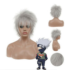 Anime Short Layered Hatake Kakashi Silver White Cosplay Party Wig Good Quanlity