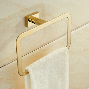 Modern Gold Finish Square Towel Ring Holder Rack Wall Mounted Stainless Steel