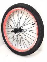"20"" Bicycle Front Pink Wheel w/ Black Hub & Black 1.95"" Tire Bmx Bike #C34"