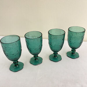 Princess House #5230 Emerald Green Fantasia CrystalStemmed Goblets 4 Pieces