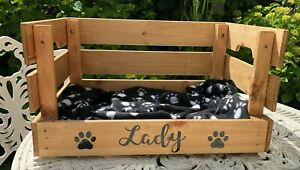 Personalised Wooden Rustic Dog Cat Small Pet Bed  Box Crate & Blanket