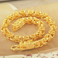 Chinese Wristband 14K Solid Gold Filled Mens Dragon Chain Link Bracelet