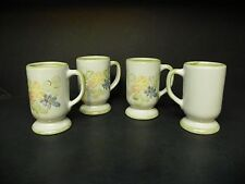 LOUISVILLE STONEWARE COUNTRY FLOWER GREEN LOT OF 4 MUGS