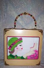 RETRO EMBROIDERED SIXTIES GIRL ON A BOX PURSE