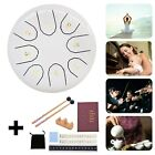 """6"""" Steel Tongue Drum Handpan Drum 8 Notes White Meditation with Bag Music Book"""