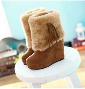 Womens Wedge Heels Winter Warm Ankle Boots Faux Fur Increase Height Suede Shoes